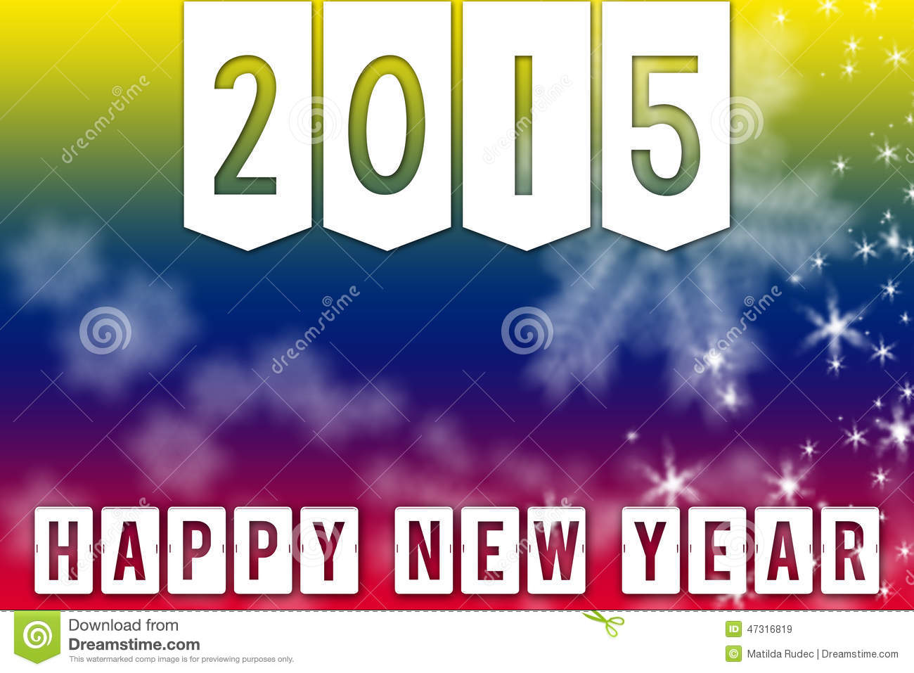 happy new year 2015 greeting colorful facebook backgroundbanner with white snowflakes and stars