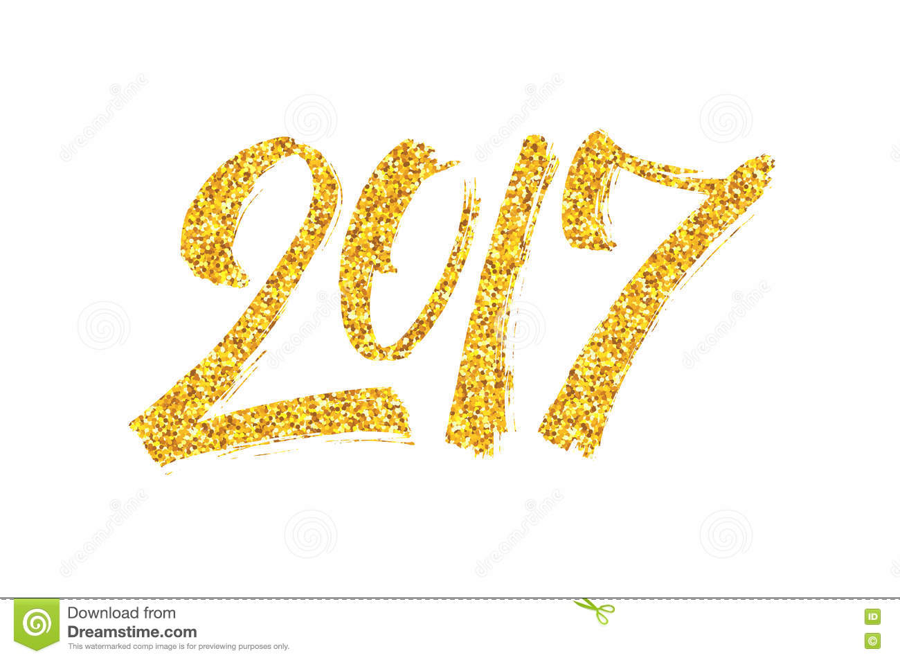New Year 2017 Greeting Card With Calligraphy Stock Vector