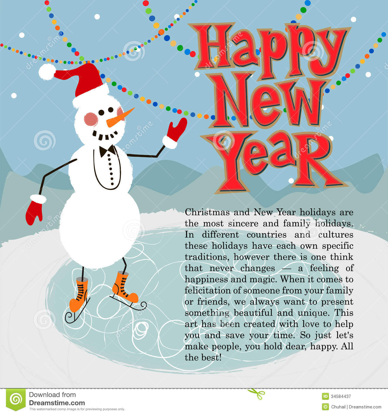 new year greeting card concept winter background with text