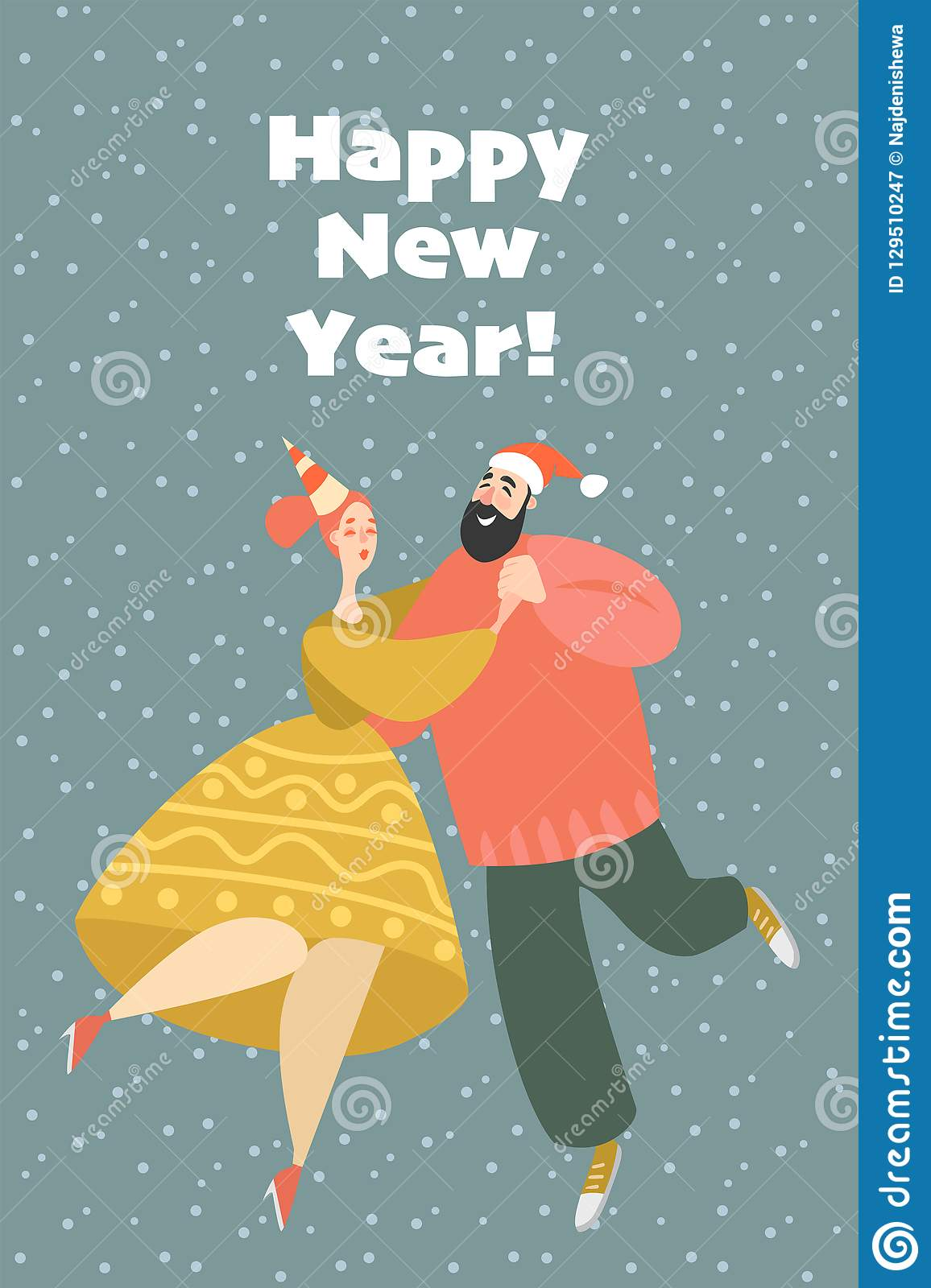 New Year Greeting Card. Couple At A Party Dancing Lindy ...