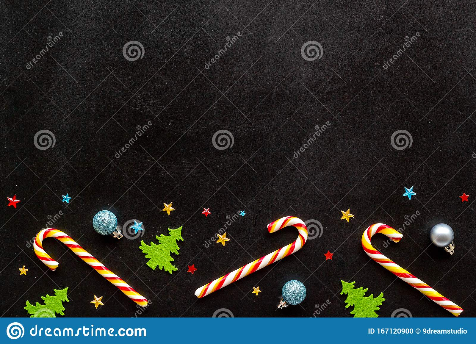 New Year Greeting Card Design. Christmas Candy Cane ...