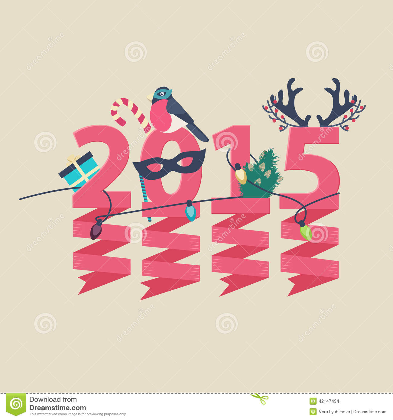2015 new year greeting card design stock vector illustration of 2015 new year greeting card design kristyandbryce Choice Image