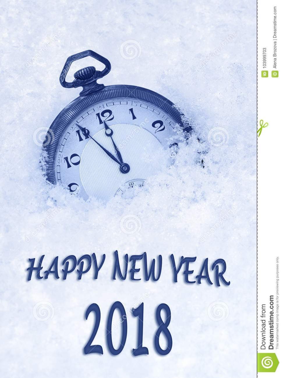 2018 New Year Greeting Card In English Language Pocket Watch In