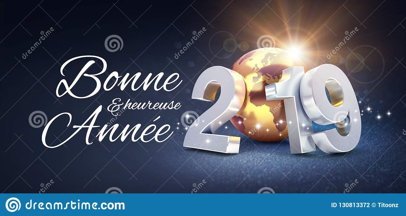 new year 2019 greeting card in french