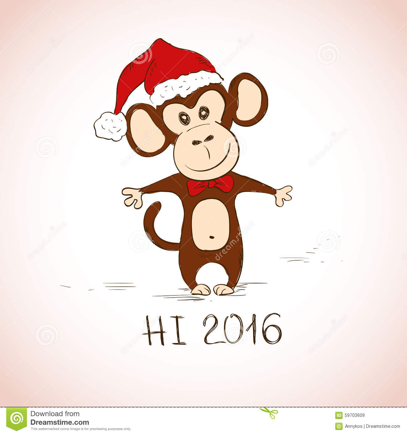 new year greeting card with funny monkey