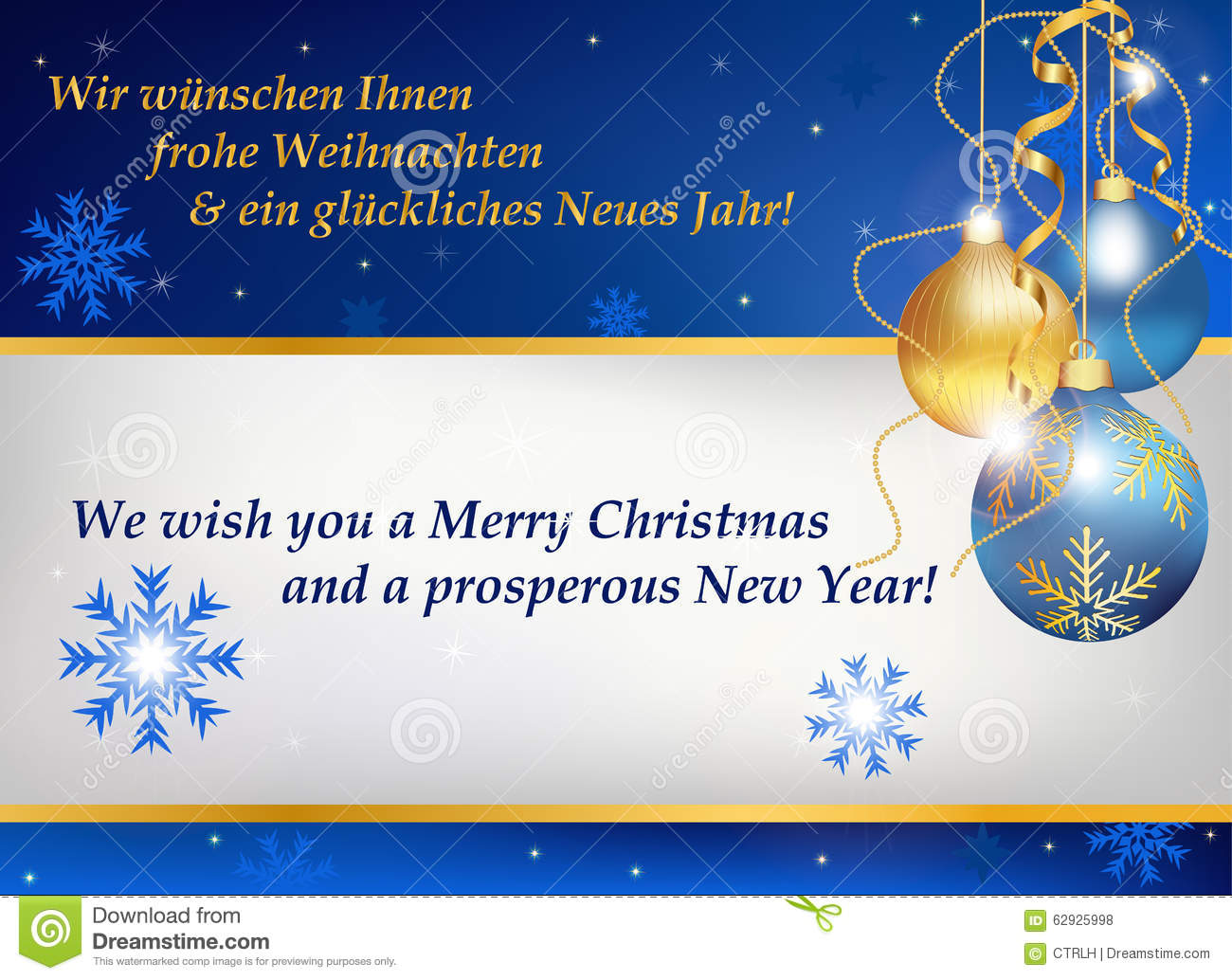 New Year Greeting Card In German And English Stock Vector ...