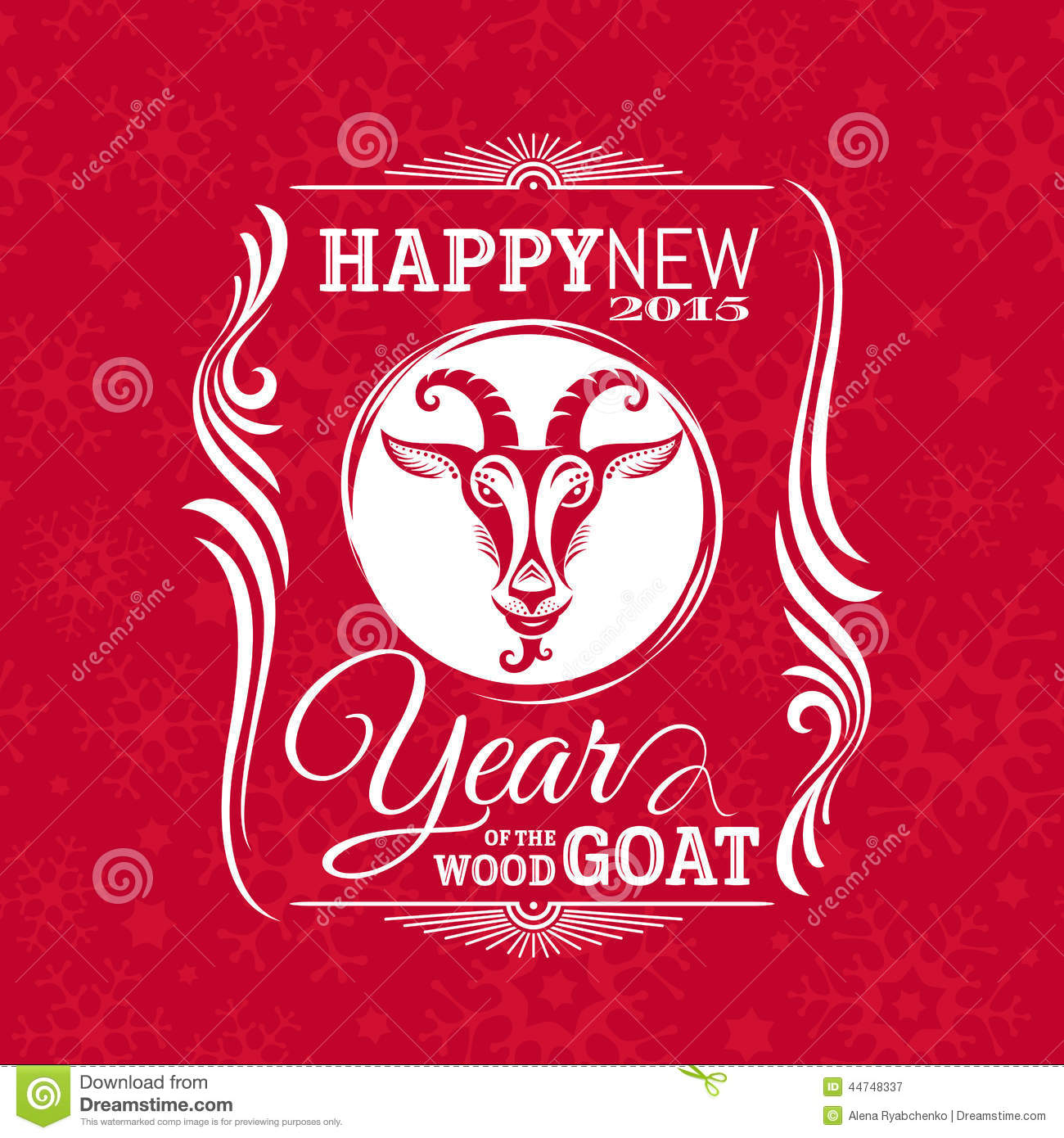 New Year Greeting Card With Goat Stock Vector ...