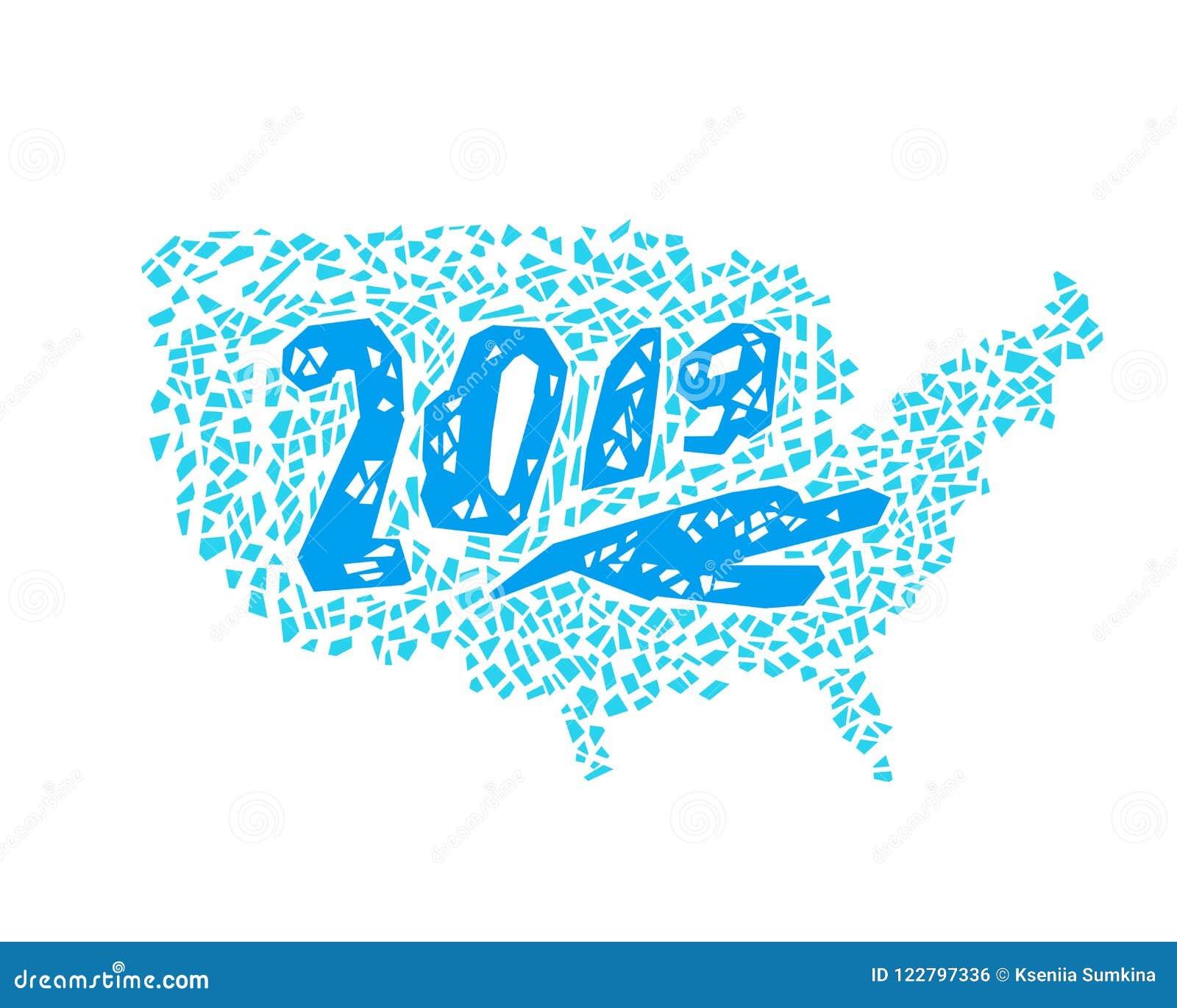 New Year Greeting Card, Hand Drawn USA Map Stock Vector ...