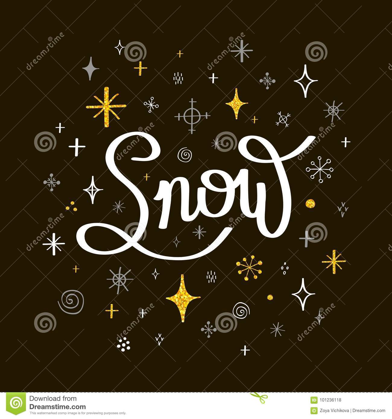 new year greeting cardlettering snow with snowflakes on a black