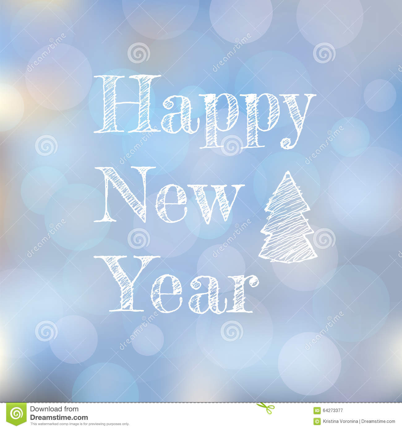 New Year greeting card on light blurred background