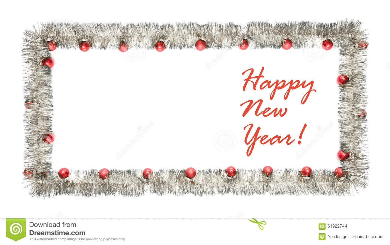 New Year Greeting Card Made Of Silver Tinsel Frame With Red
