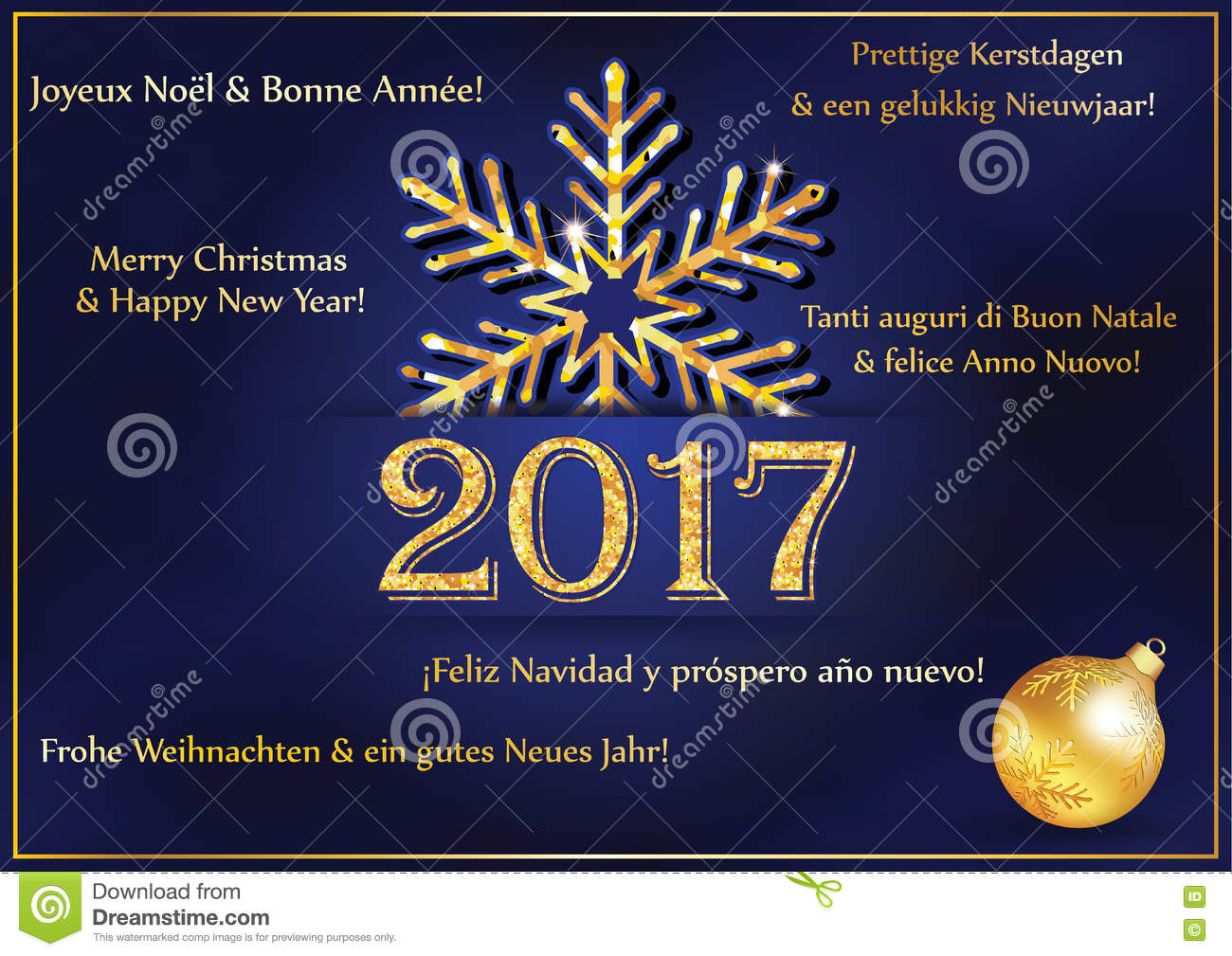 New Year Greeting Card 2017 In Many Languages Stock Illustration ...