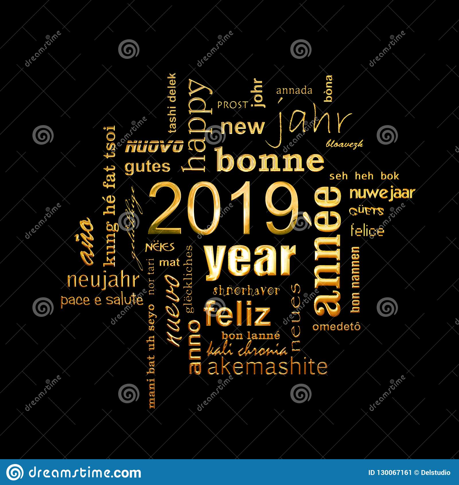 new year greeting card 2019 multilingual word cloud golden letters on black