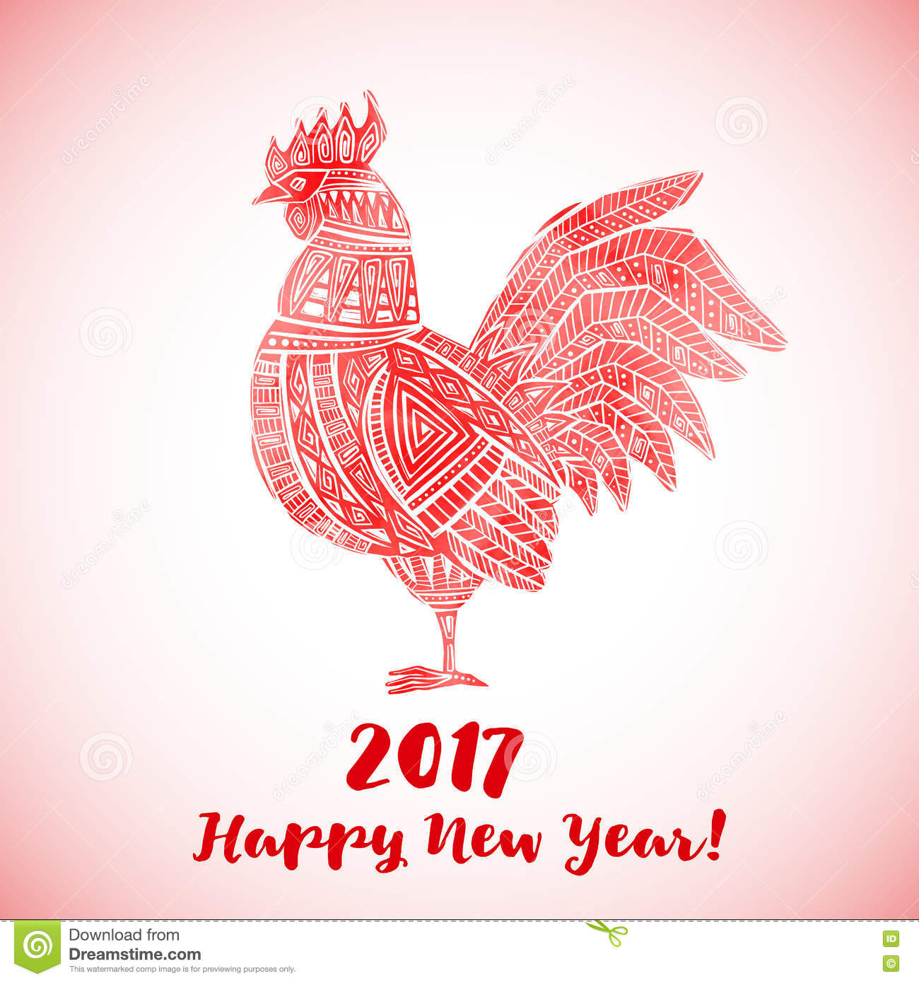 New year greeting card with red rooster stock vector new year greeting card with red rooster kristyandbryce Gallery