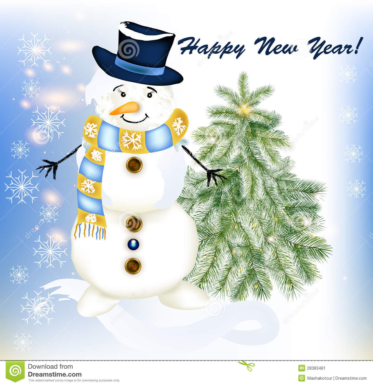 New year greeting card with snowman and fir tree stock