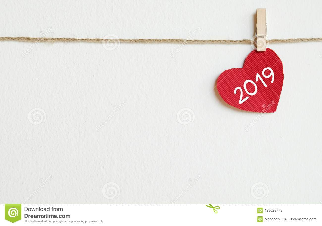2019 New Year Greeting Card Template, Red Fabric Heart ...