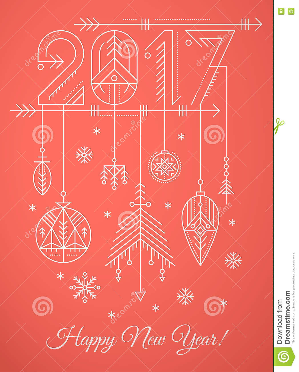 New Year Greeting Card Template With 2017 Sign And Decorations – New Year Greeting Card Template