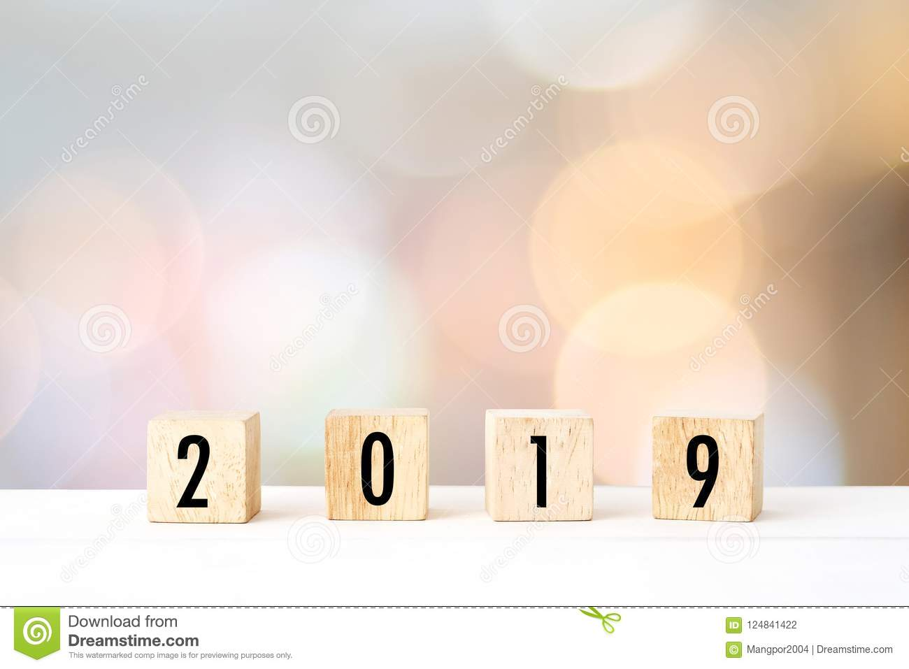 2019 new year greeting card template 2018 on wooden cubes on wh