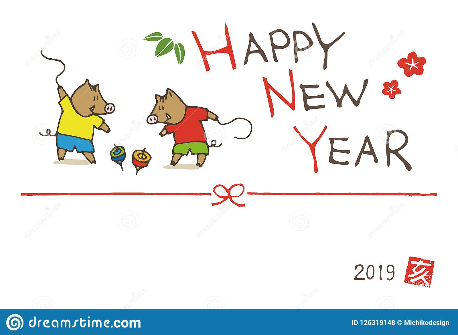 New year greeting card with wild boars playing spinning top toys