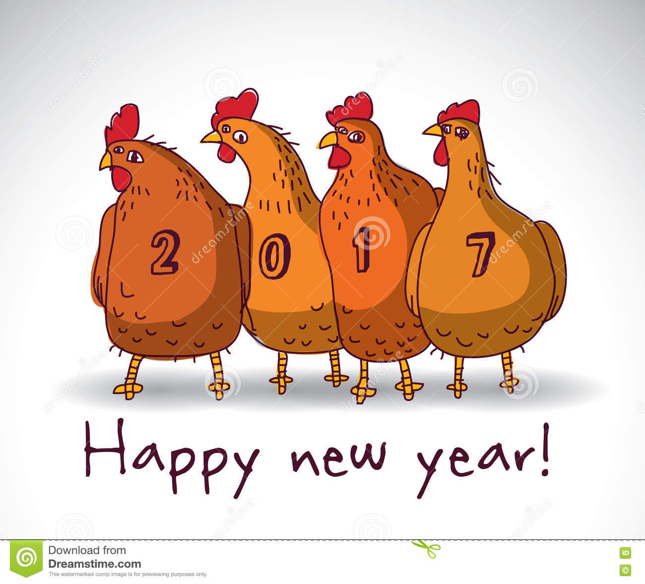 new year greeting chicken card with sign