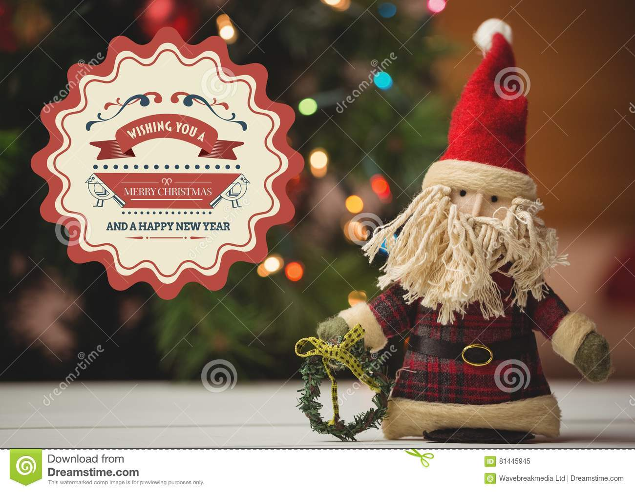New Year Greeting Quotes With Santa Doll Stock Illustration