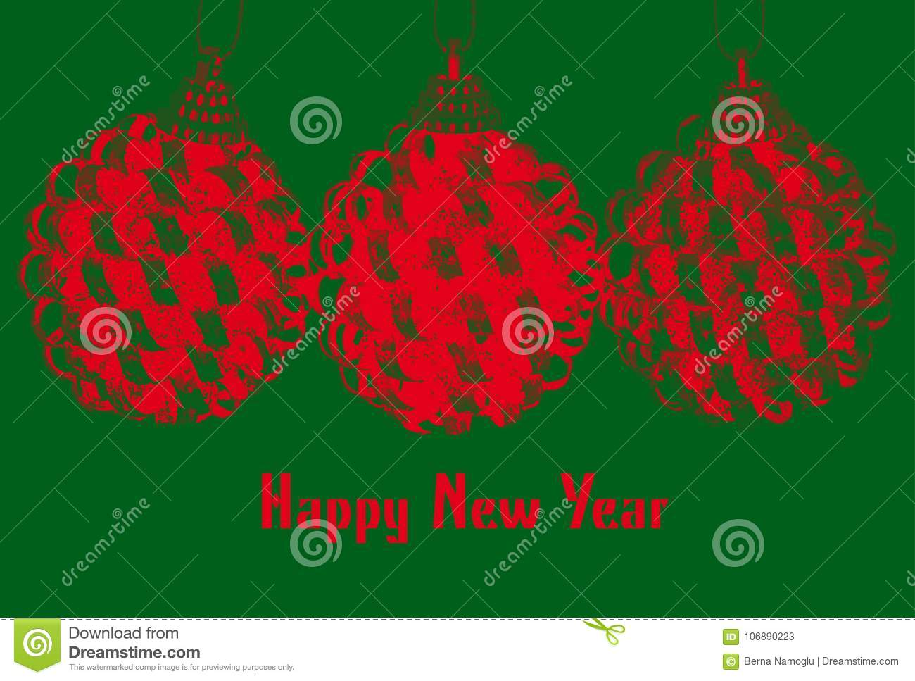 new year greeting template with red christmas bulbs on green bac