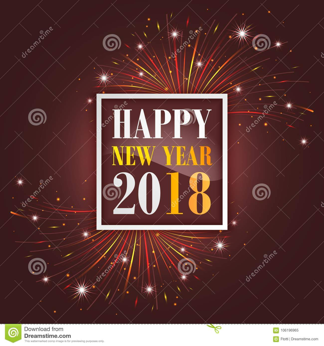 New Year Greetings 2018 With Fireworks Sparkle Stars And Glitter
