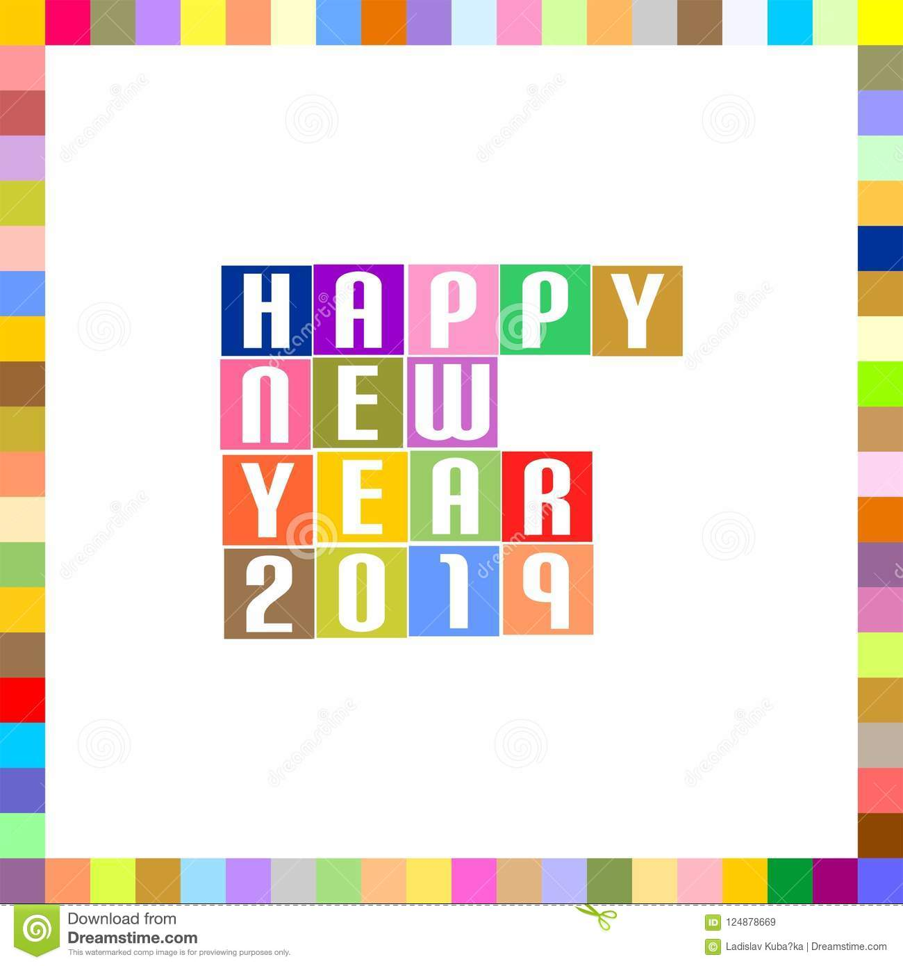 New year greetings for 2019 with white lettering happy new - New year 2019 color ...