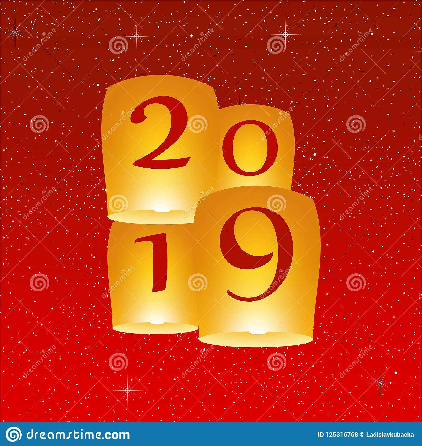 New Year Greetings For Year 2019 With Bright Red Background With