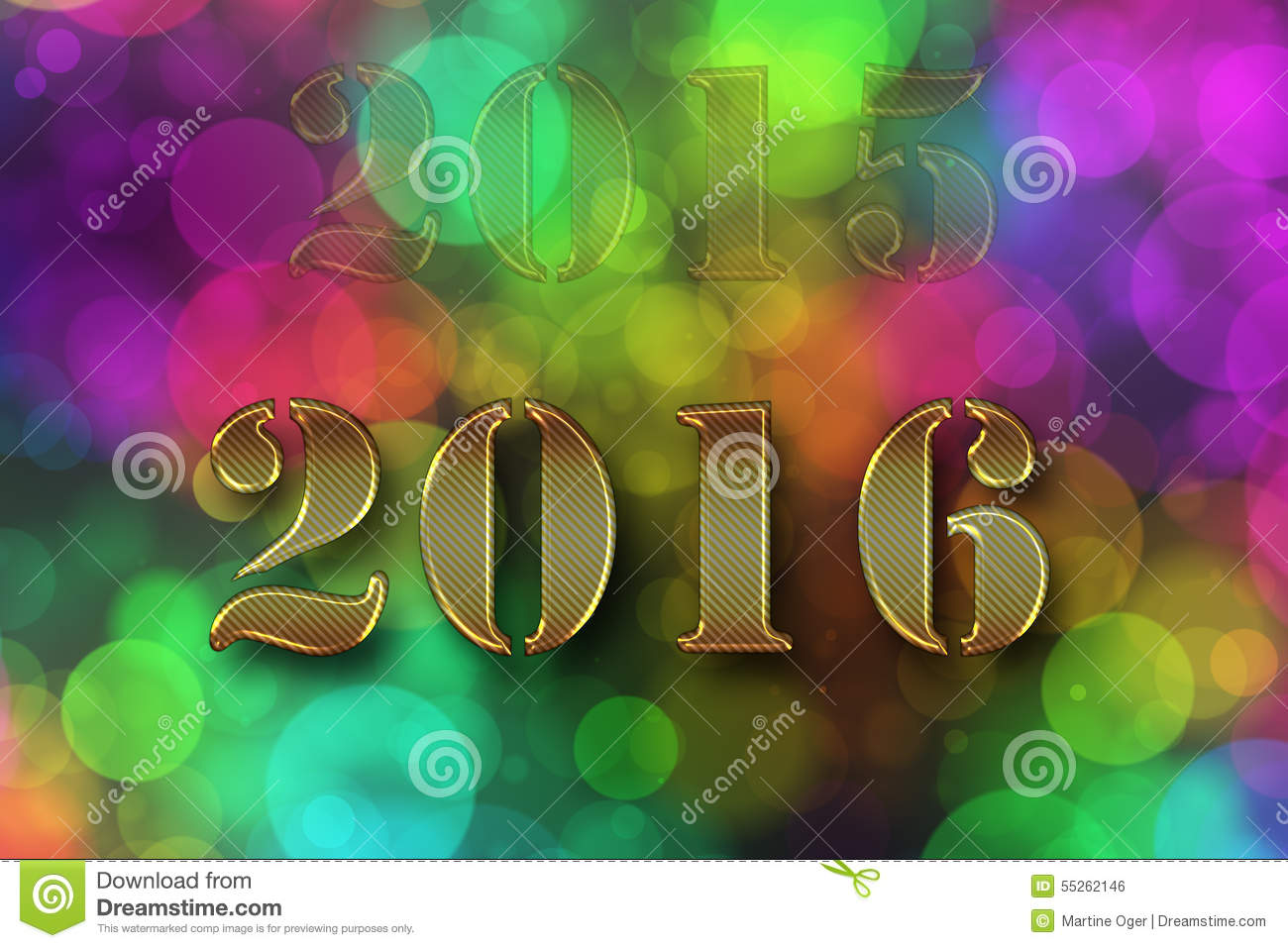 Happy new year 2016 on colored background.