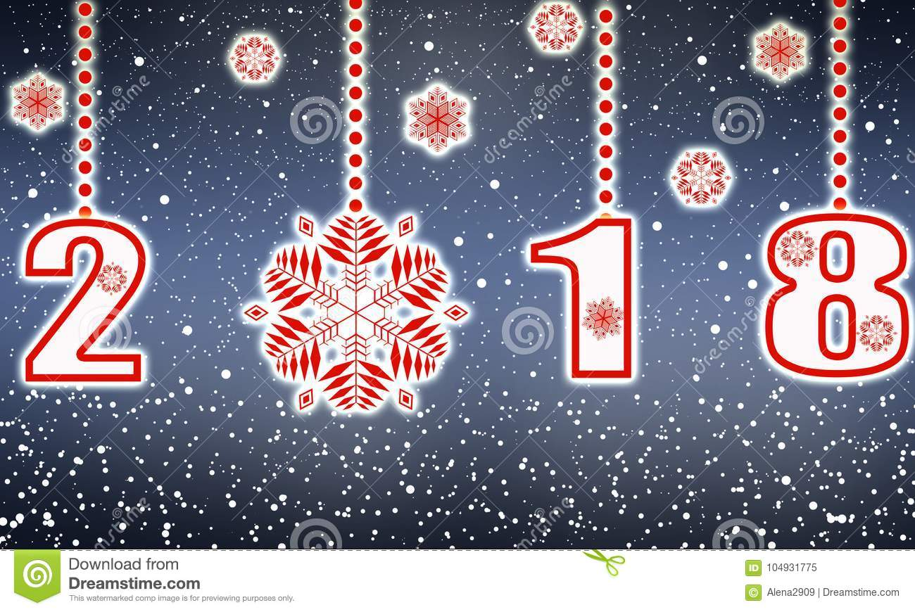 Happy New Year Greeting Card In 2018 From Snowflakes Stock