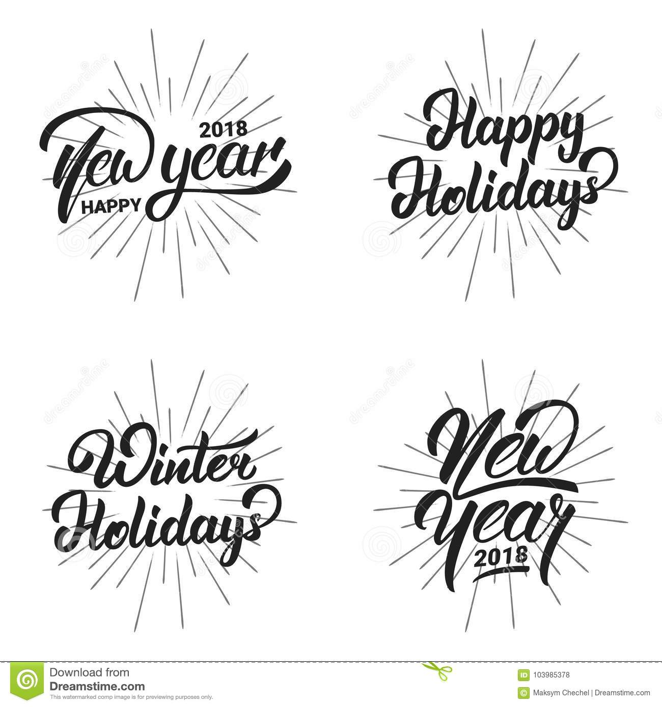 new year happy new year 2018 hand lettering labels set with gold shiny texture