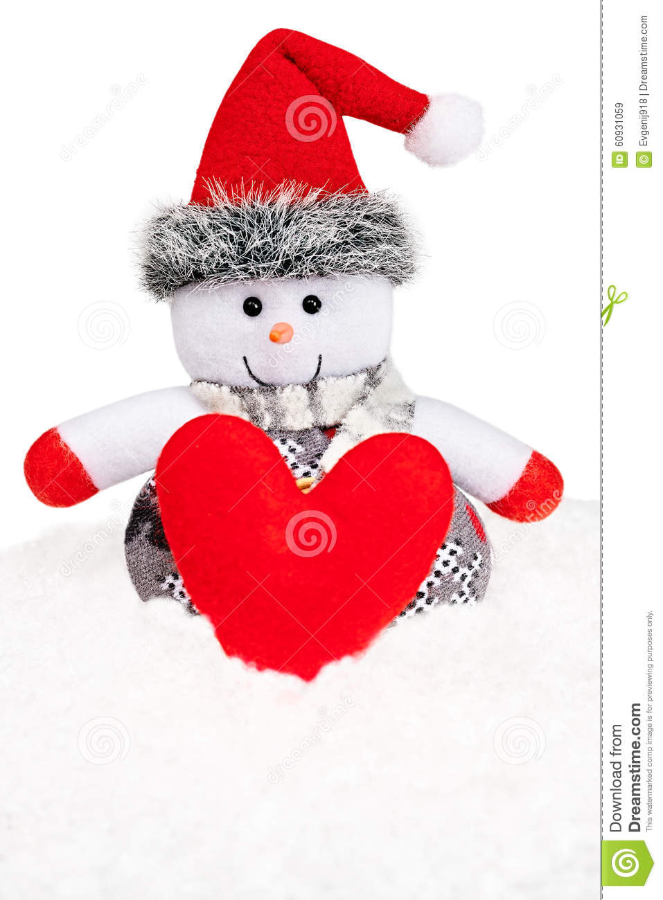 New Year 2016. Happy Snowman On Snow With Heart Stock Photo - Image: 60931059