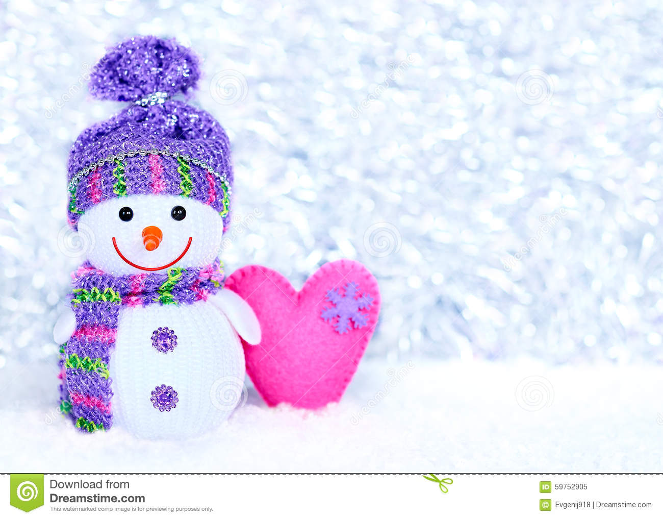 New Year 2016. Happy Snowman On Snow With Heart Stock Photo - Image: 59752905