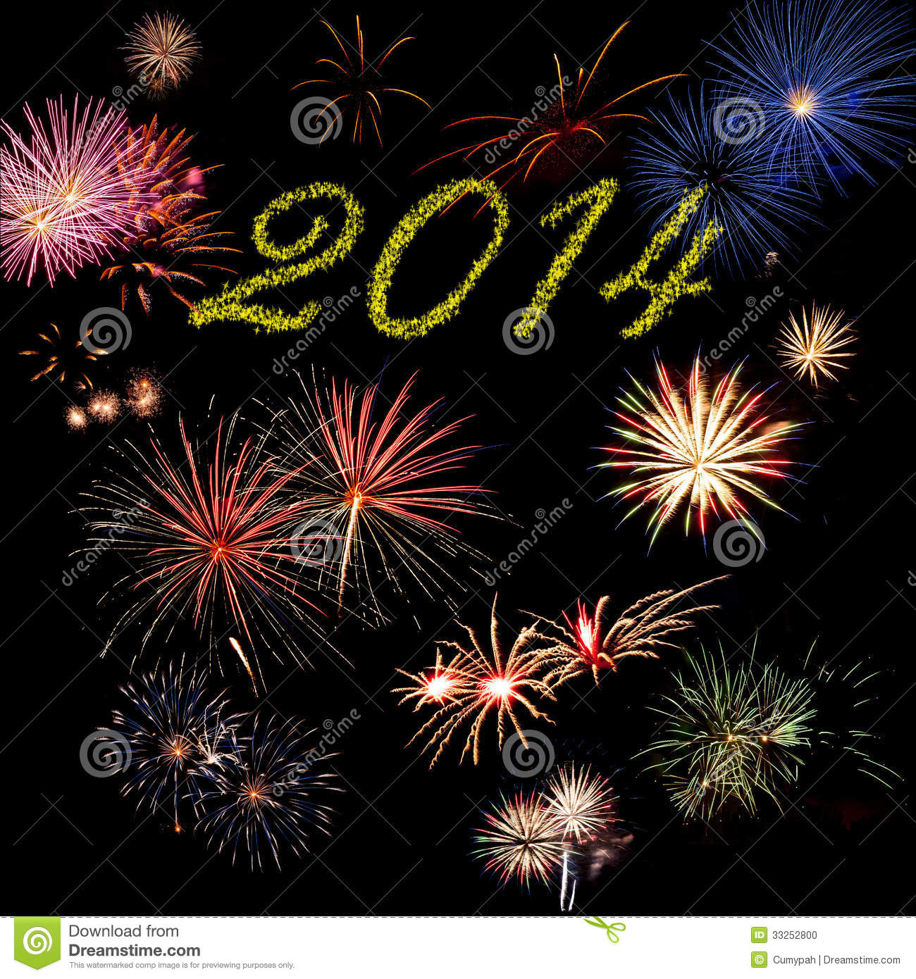 2014 New Year Holiday Fireworks Stock Photo - Image of