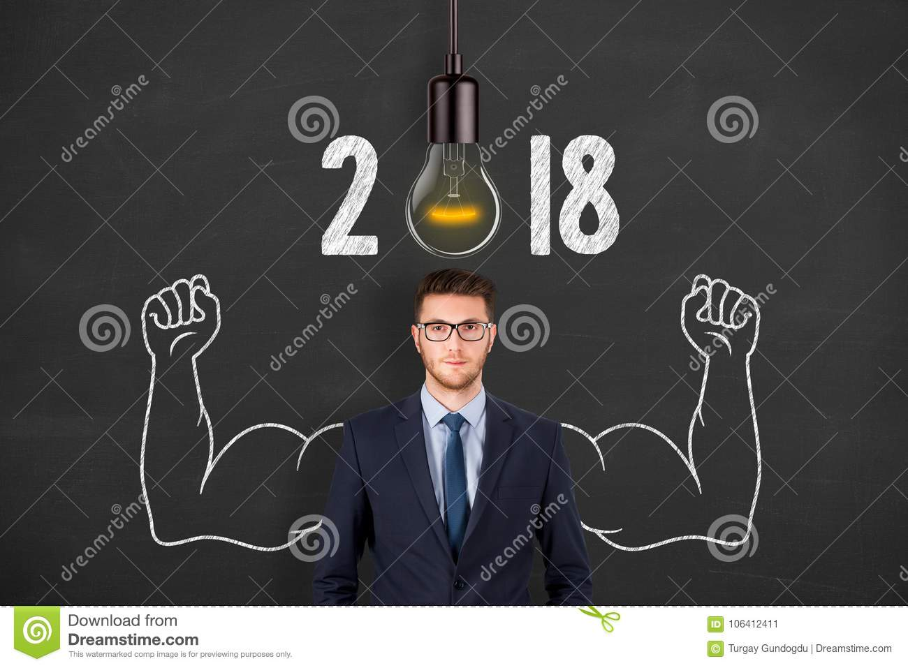 New Year 2018 Idea Concepts over Human Head