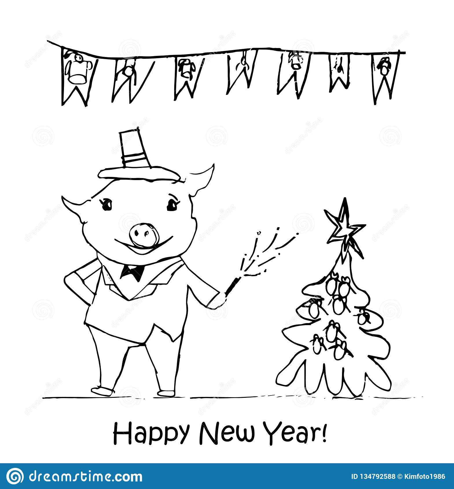 New Year illustration. Children`s drawings with black chalk on a white background. Christmas tree, fur-tree toys, candy, pig, 2019