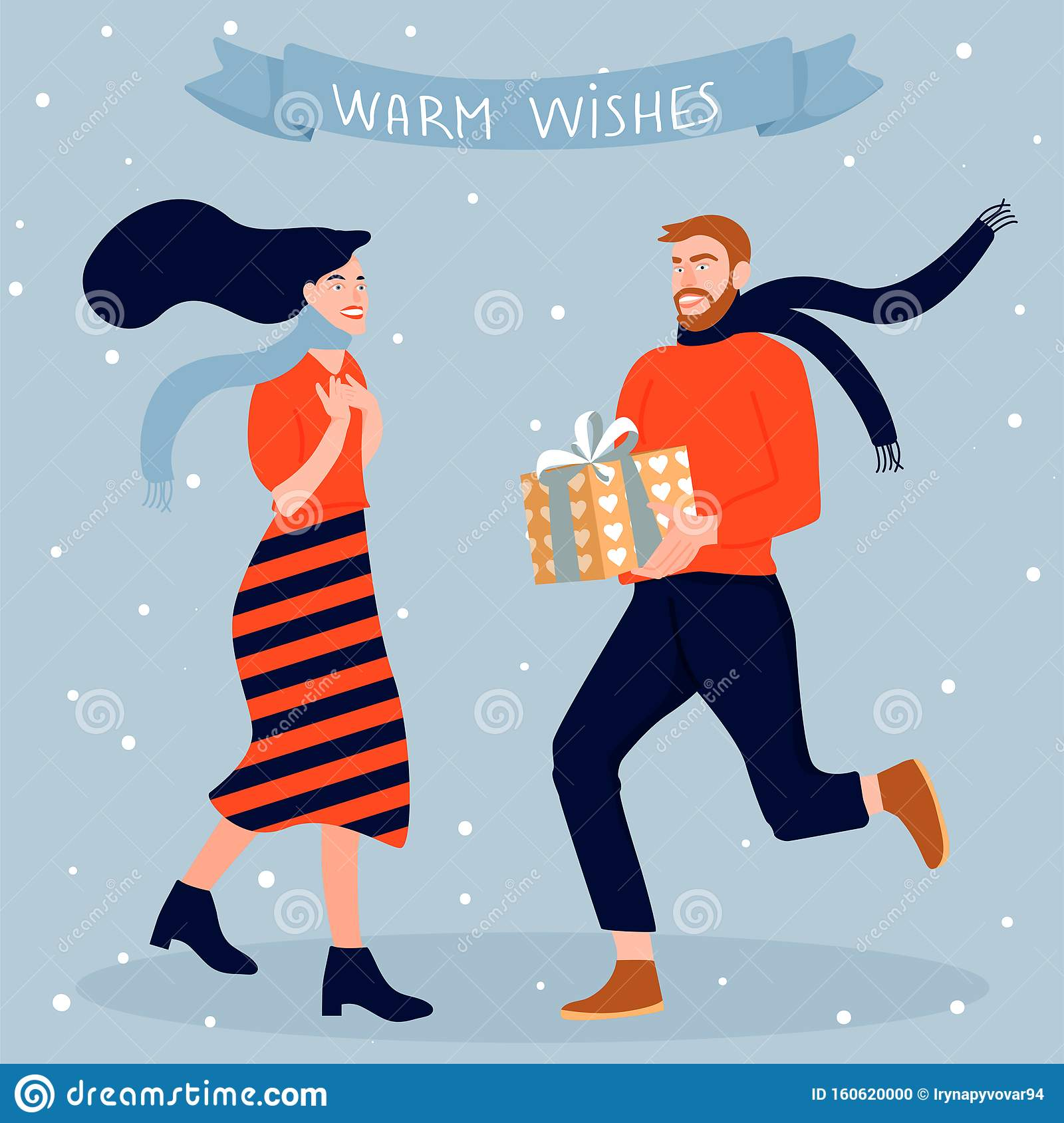 Christmas And Happy New Year Greeting Card. Happy Couple ...