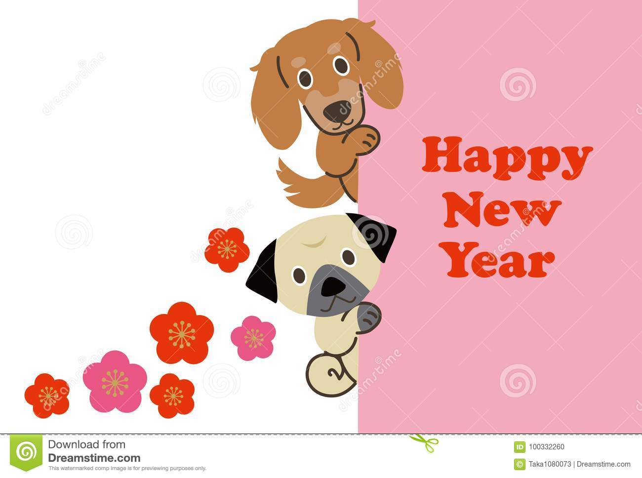 New Year, Illustration material, Dog