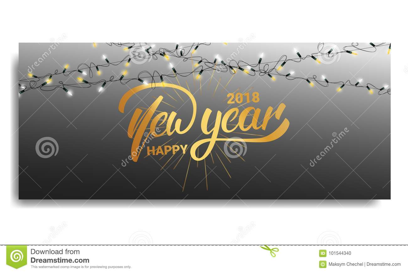 new year 2018 invitation card template with glowing christmas lights and hand lettering happy