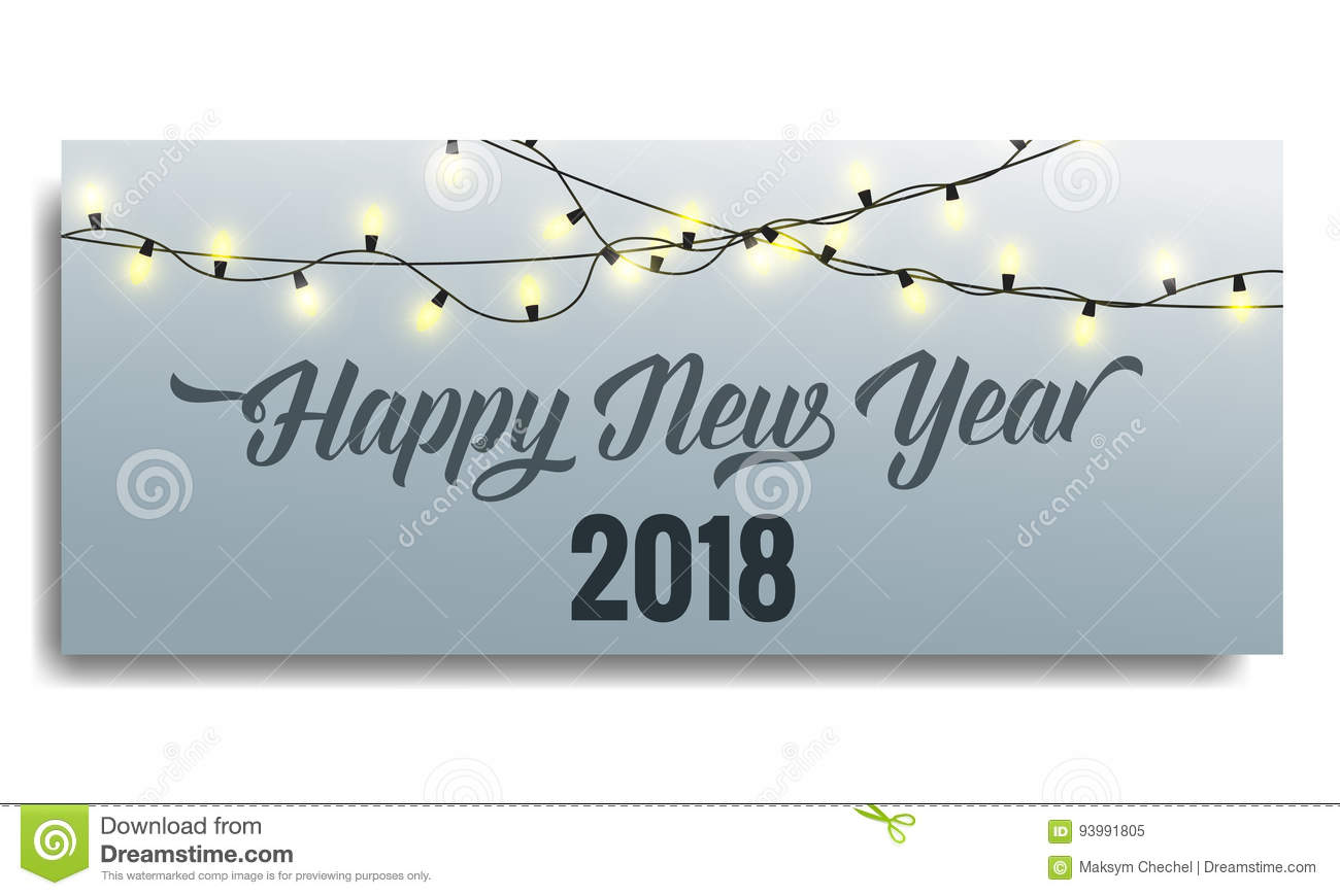 new year 2018 invitation card template with glowing garlands and typography happy new year