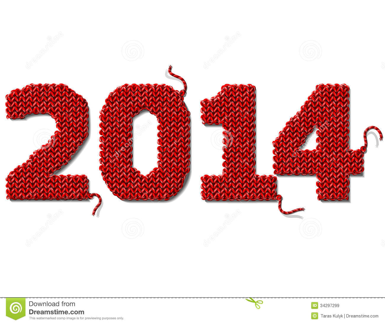 new year 2014 of knitted fabric isolated on white royalty