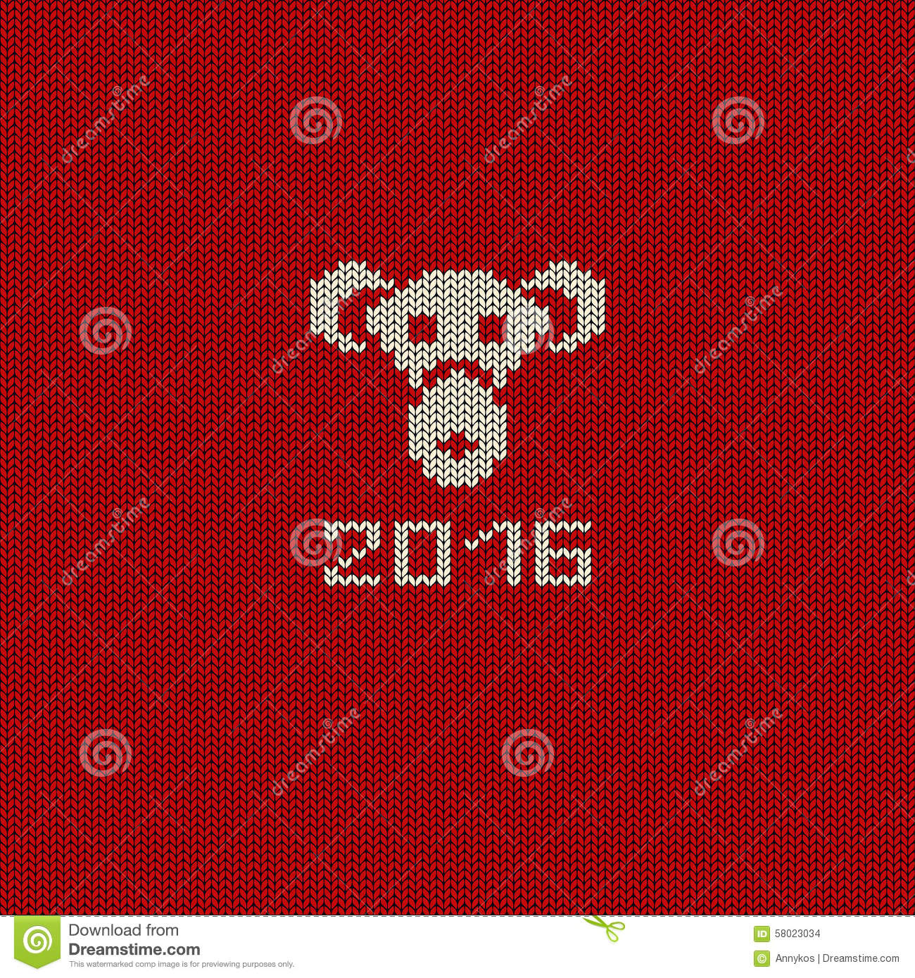 New Year Knitted Pattern Card With Monkey Face. Stock Vector ...
