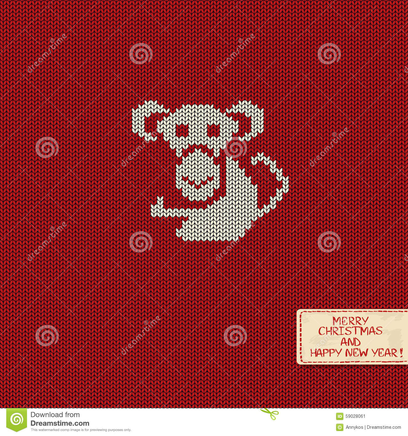 New Year Knitted Pattern Card With Monkey. Stock Vector ...