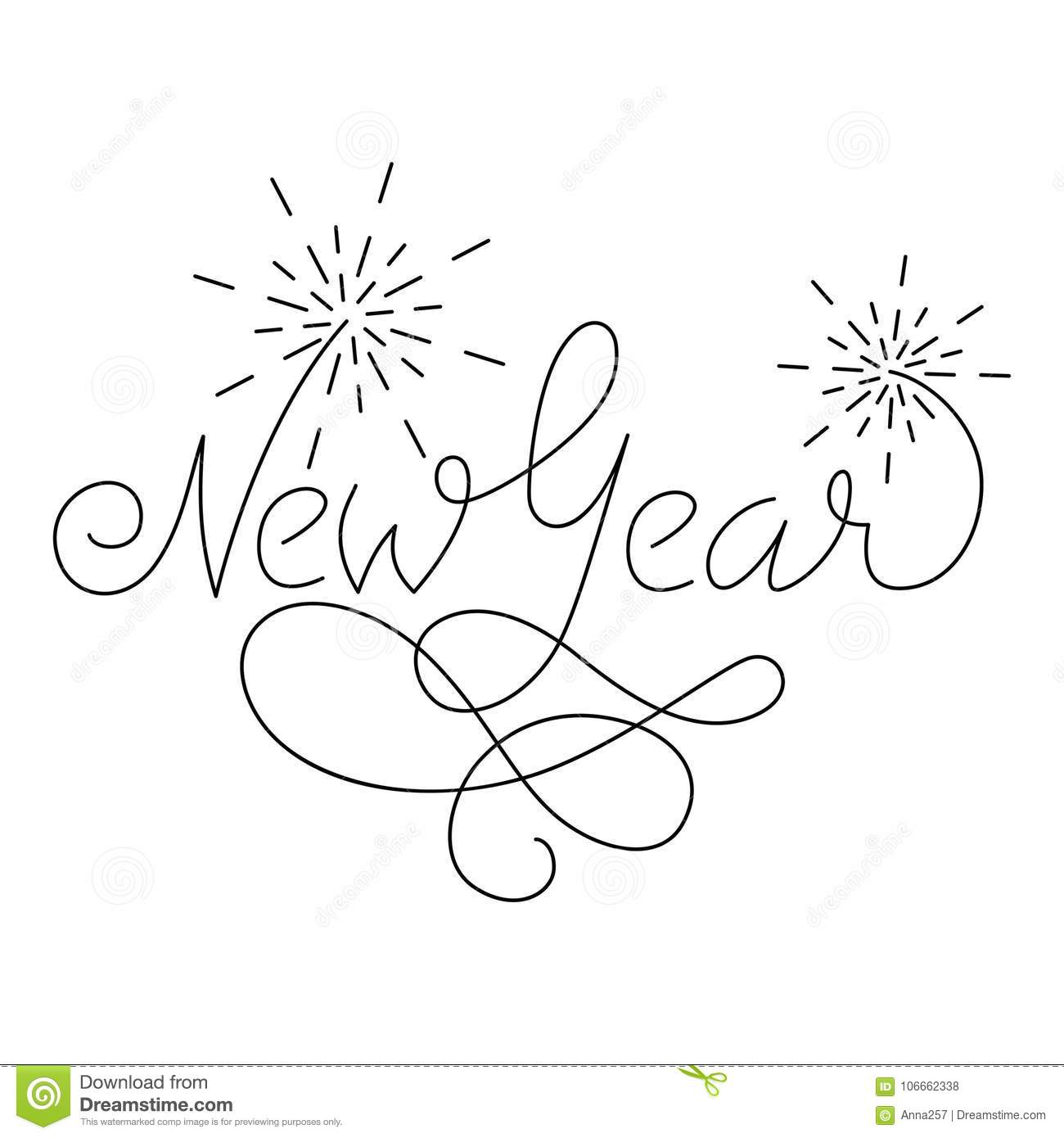 new year lettering greeting card design with fireworks template for