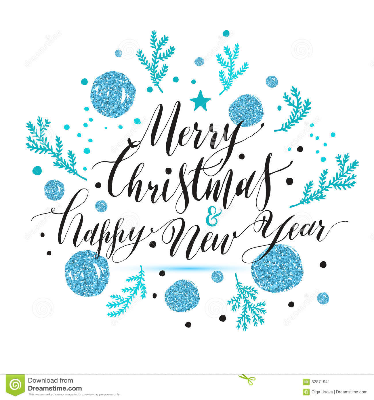 New Year Lettering, Hand Drawn Christmas Greeting Card With Blue ...