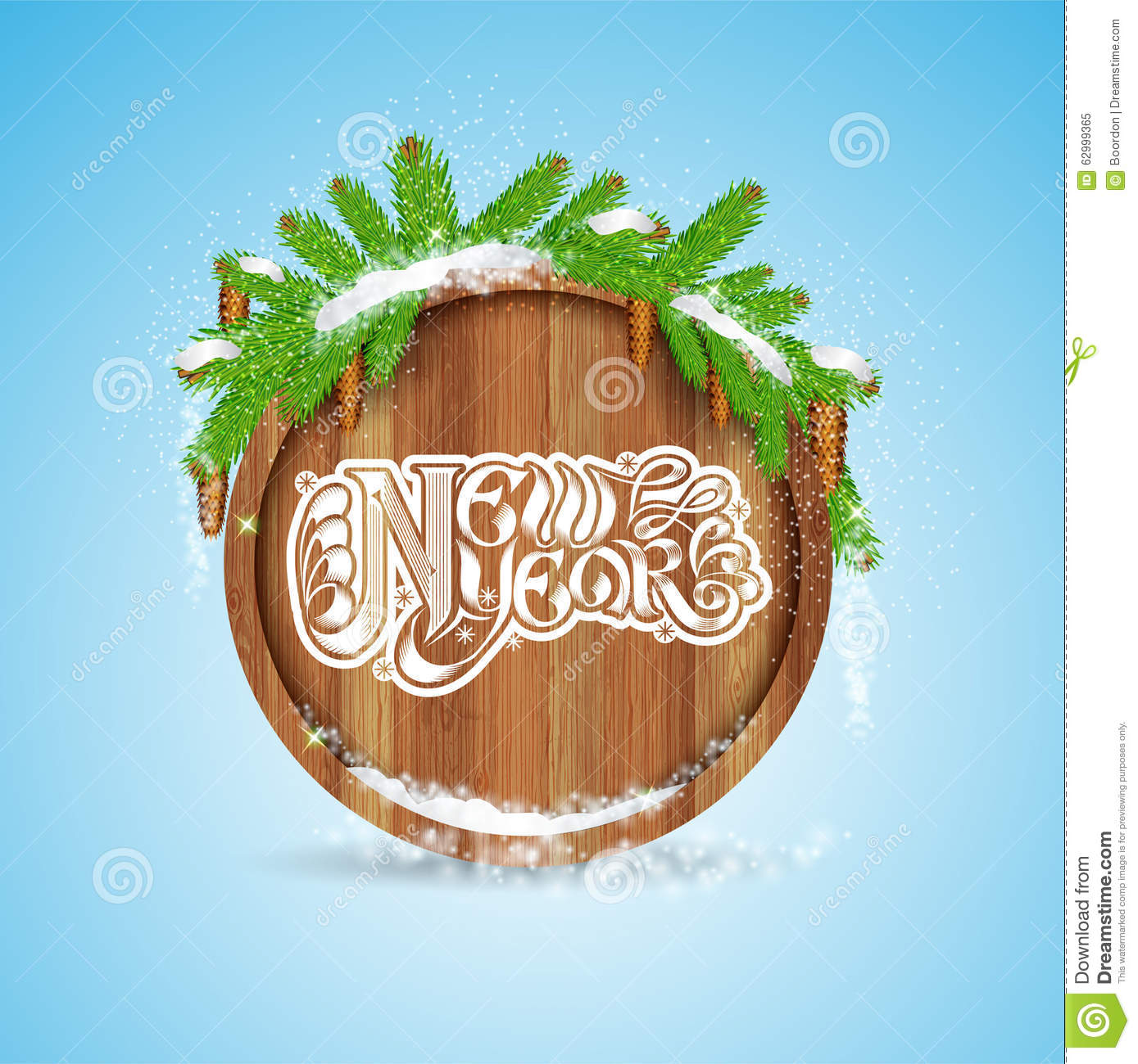 New year lettering on round wood border with snowy fir tree branch and cones on blue