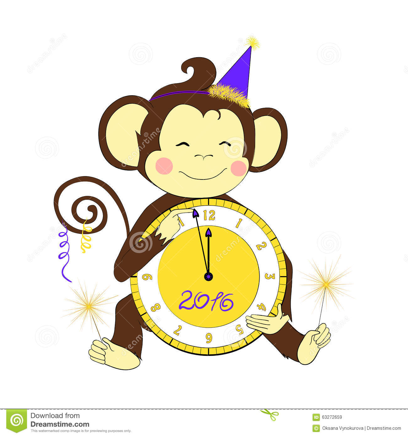 Design Your Cartoon Character : New year little monkey holding clock and sparklers stock