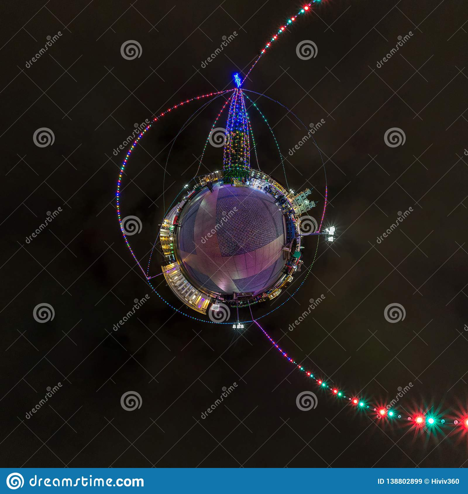 New year little planet. Spherical aerial 360 degree panorama night view on a festive square with a Christmas tree