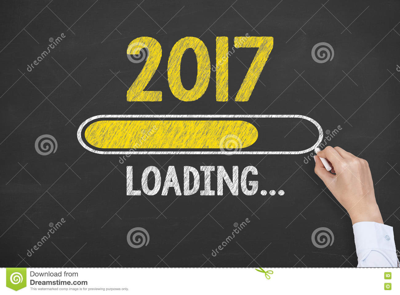 new year 2017 loading technology on chalkboard background